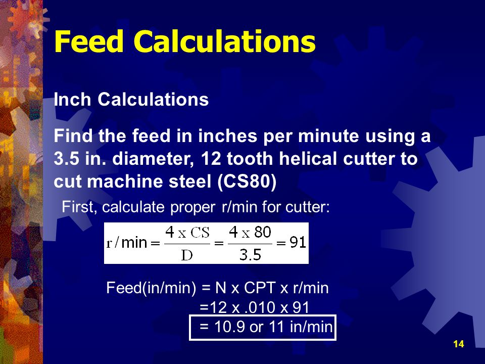 Feed Calculations Inch Calculations