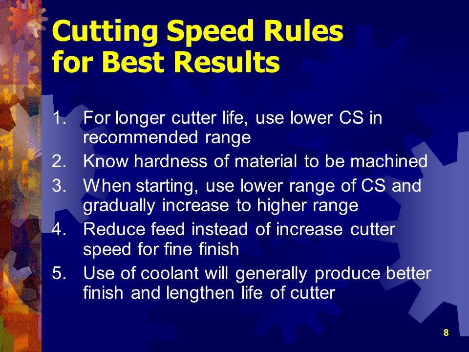Cutting Speed Rules for Best Results