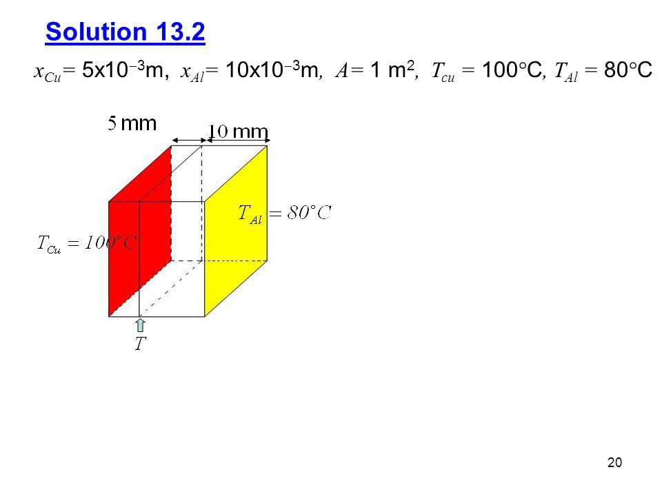 Solution 13.2 xCu= 5x103m, xAl= 10x103m, A= 1 m2, Tcu = 100C, TAl = 80C