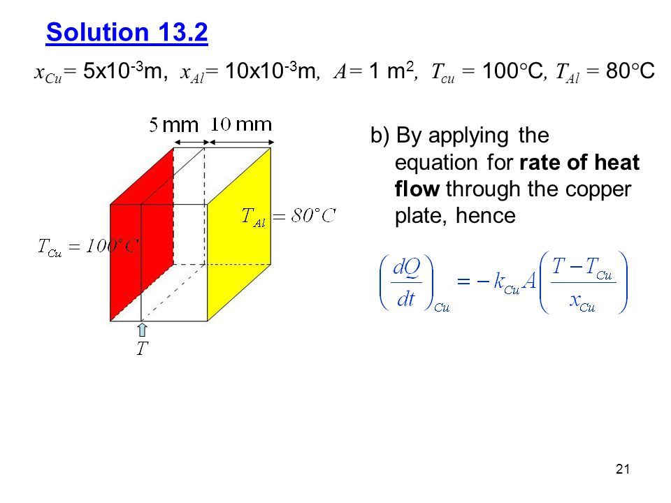 Solution 13.2 xCu= 5x10-3m, xAl= 10x10-3m, A= 1 m2, Tcu = 100C, TAl = 80C. b) By applying the.