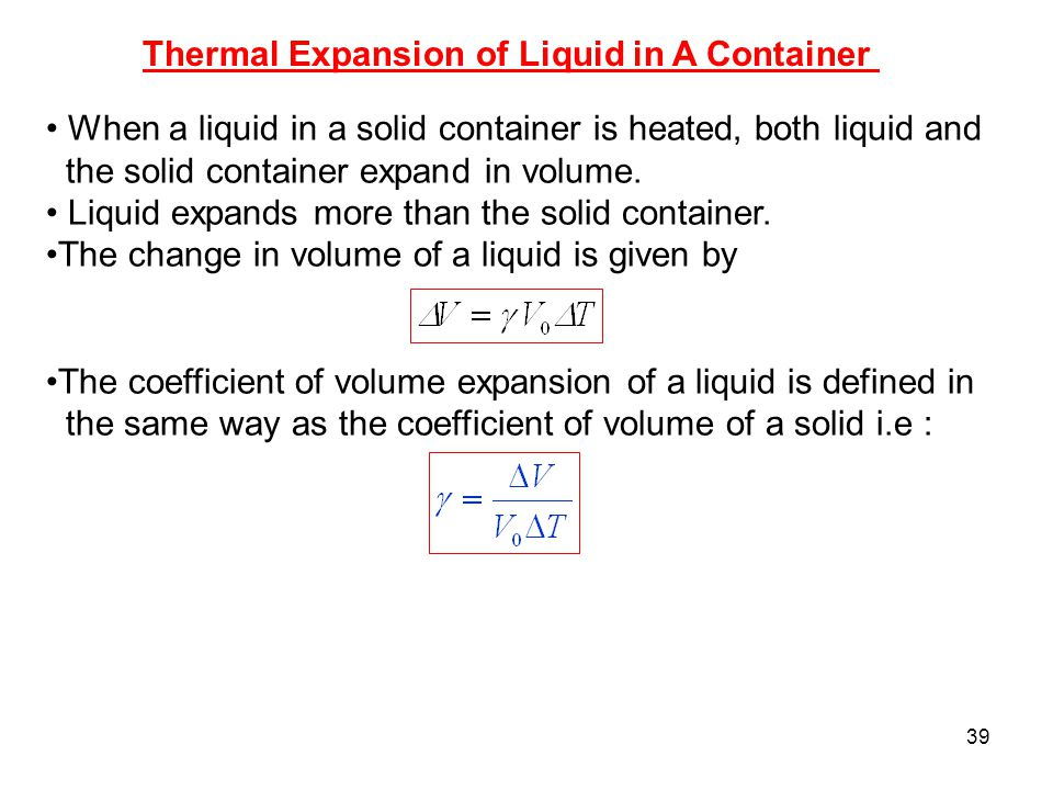 Thermal Expansion of Liquid in A Container