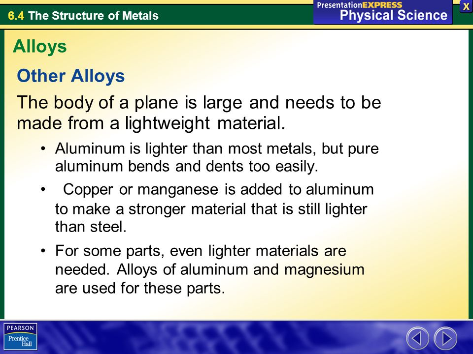 Alloys Other Alloys. The body of a plane is large and needs to be made from a lightweight material.