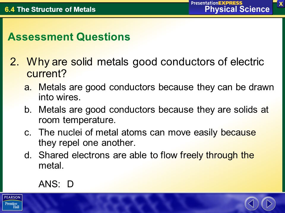 Why are solid metals good conductors of electric current