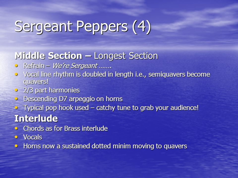 Sergeant Peppers (4) Middle Section – Longest Section Interlude