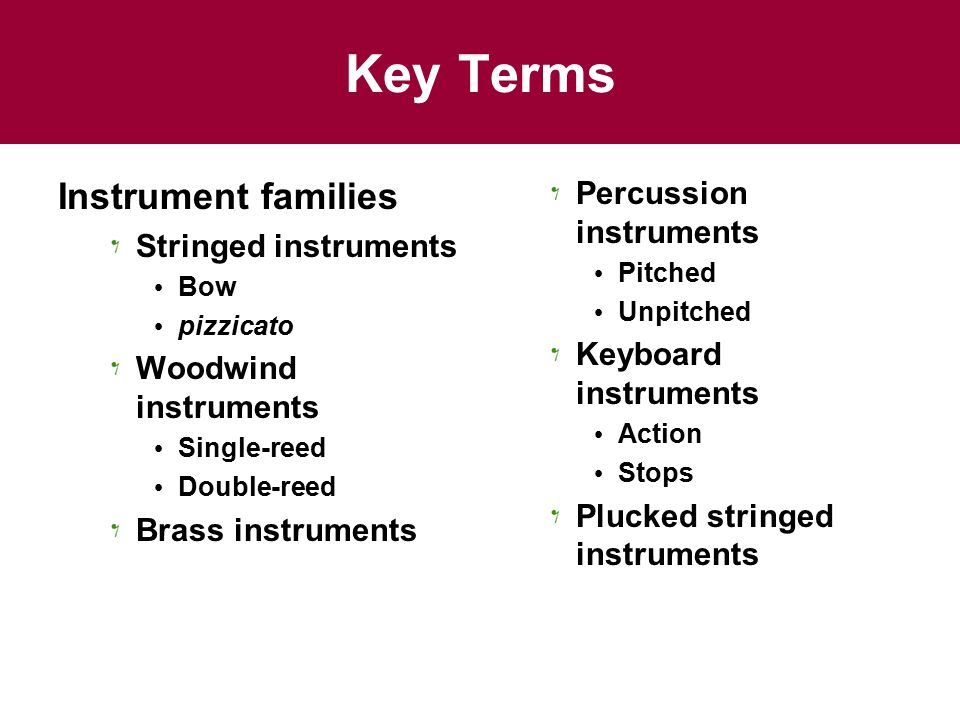 Key Terms Instrument families Percussion instruments
