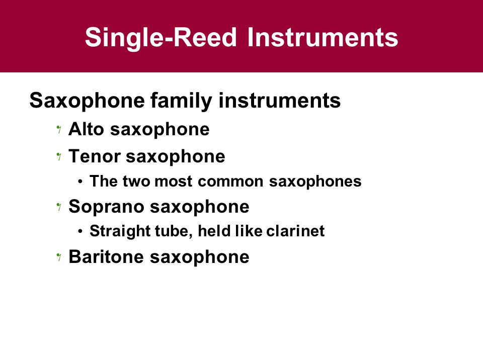 Single-Reed Instruments