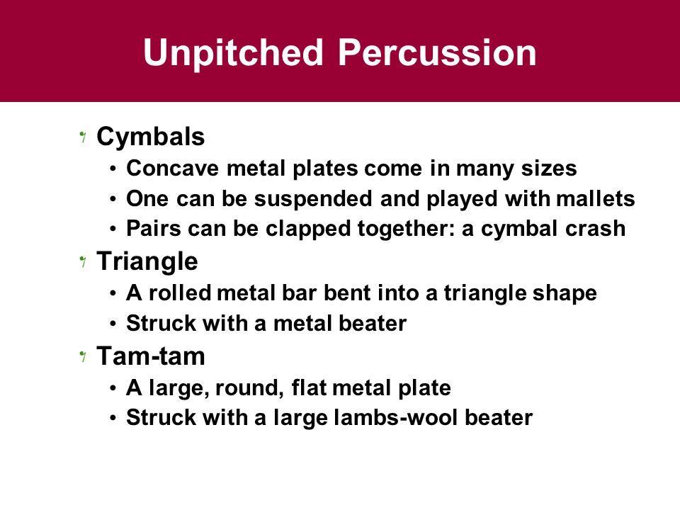 Unpitched Percussion Cymbals Triangle Tam-tam
