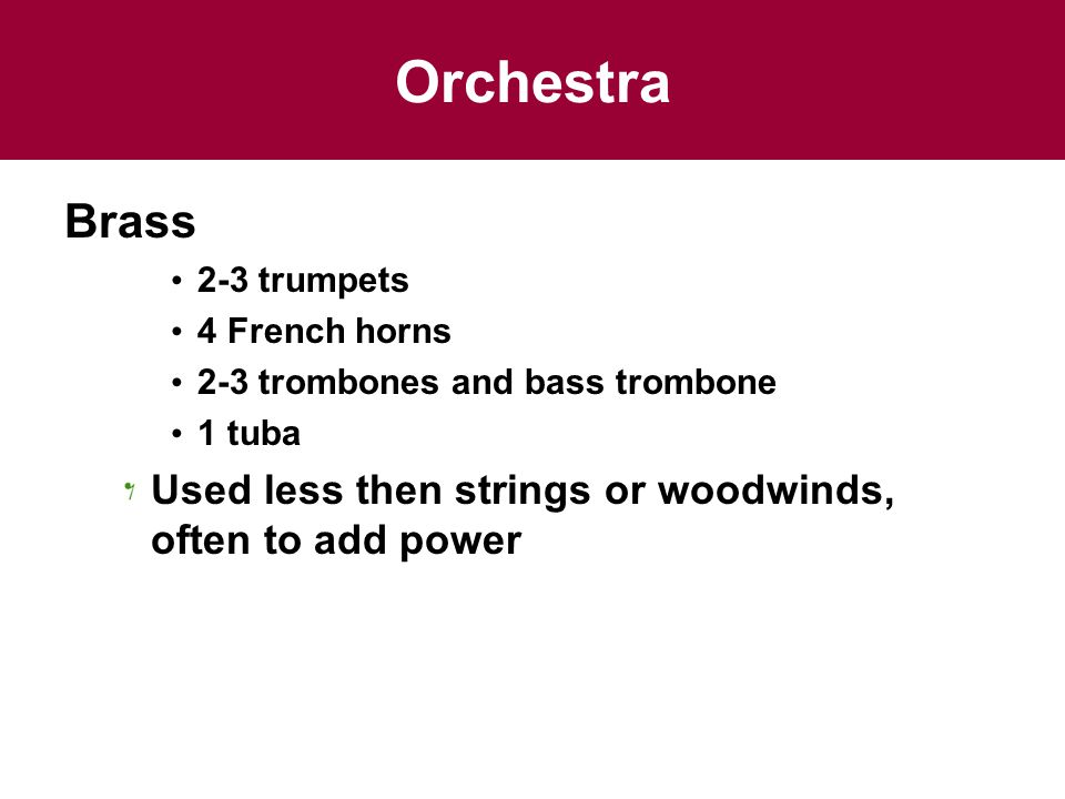 Orchestra Brass. 2-3 trumpets. 4 French horns.