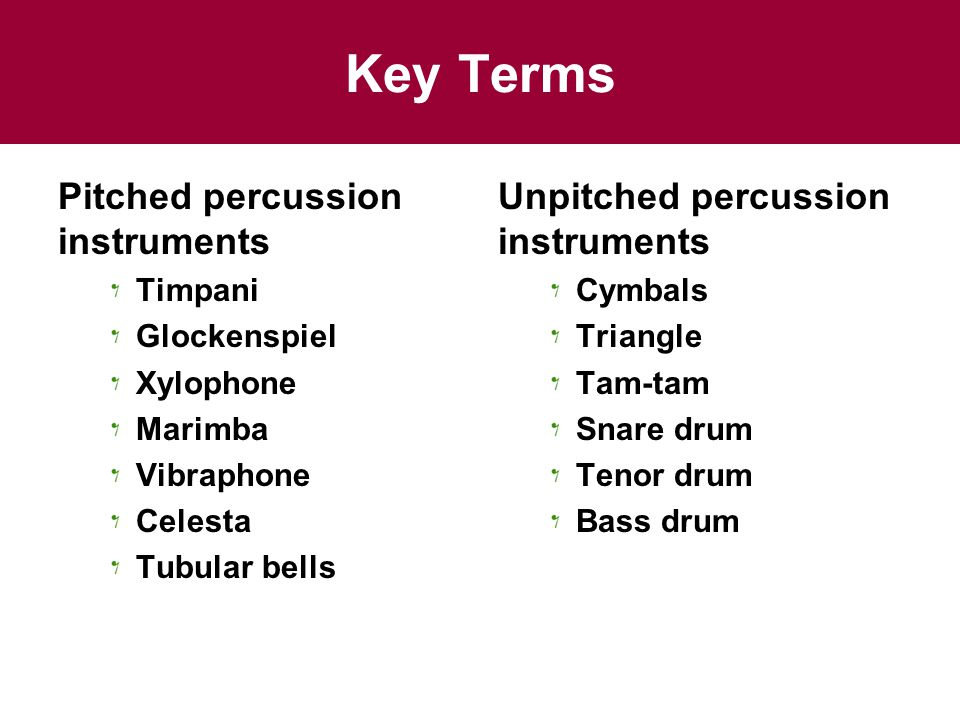 Key Terms Pitched percussion instruments