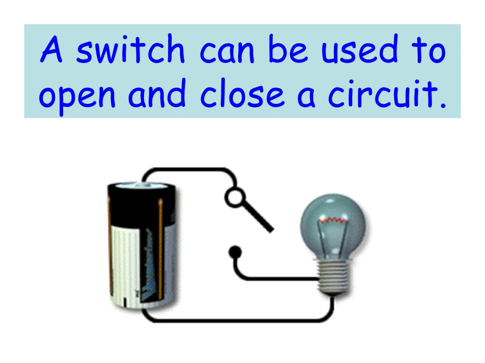 A switch can be used to open and close a circuit.
