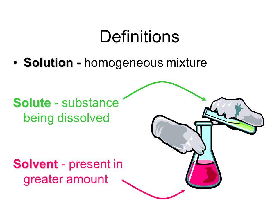 Definitions Solution - homogeneous mixture