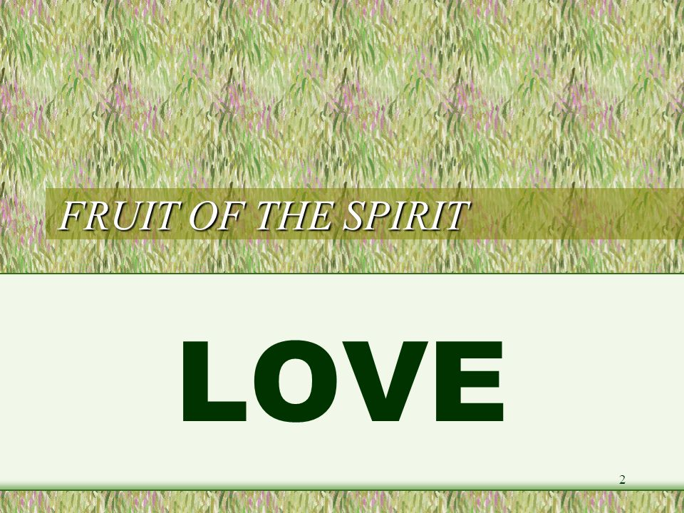 FRUIT OF THE SPIRIT LOVE (1) LOVE