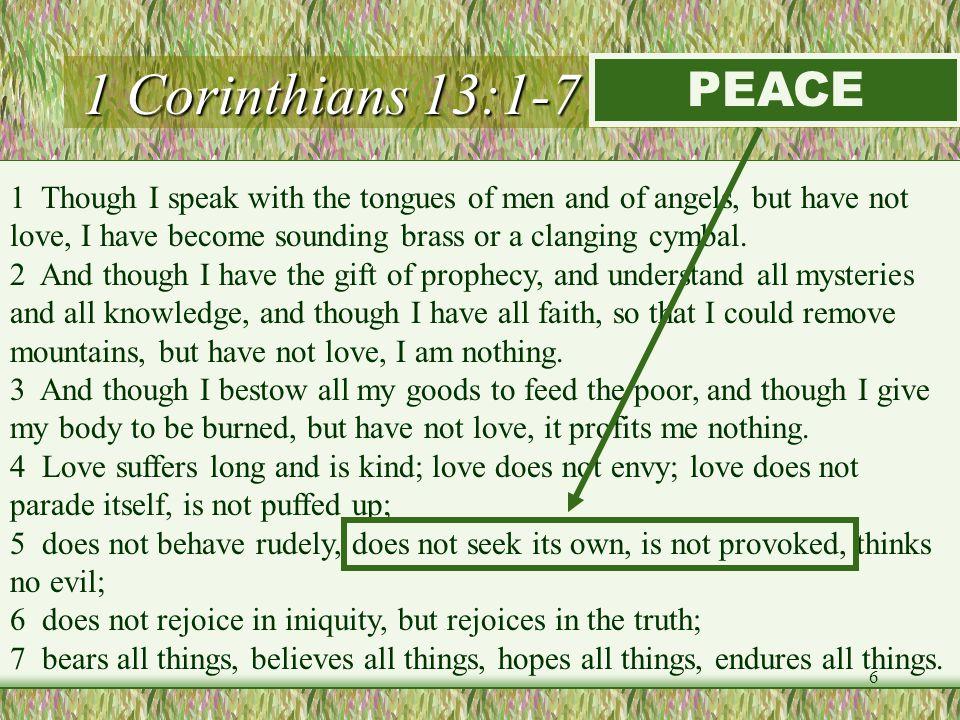 1 Corinthians 13:1-7 (LOVE) PEACE