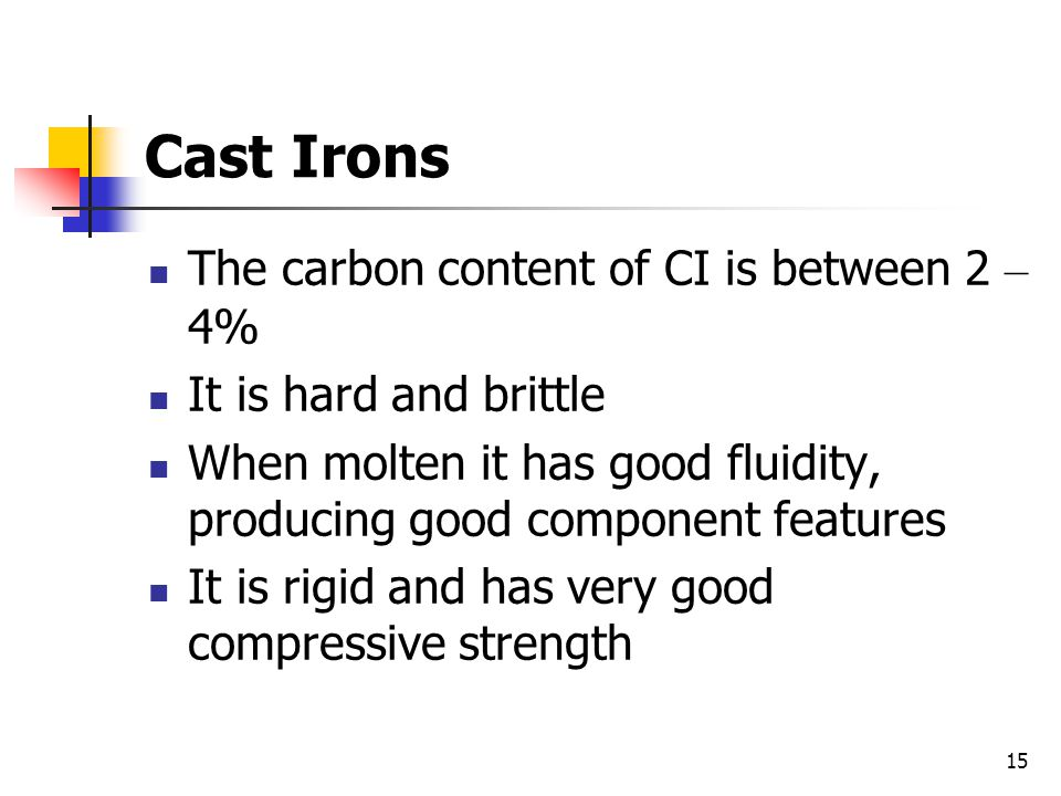 Cast Irons The carbon content of CI is between 2 – 4%