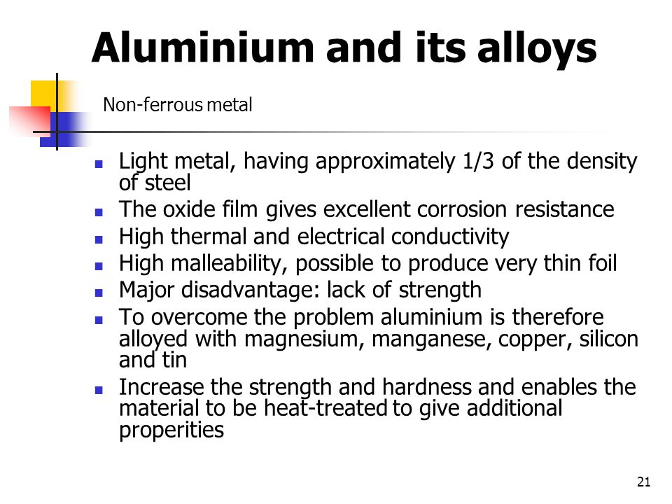 Aluminium and its alloys Non-ferrous metal