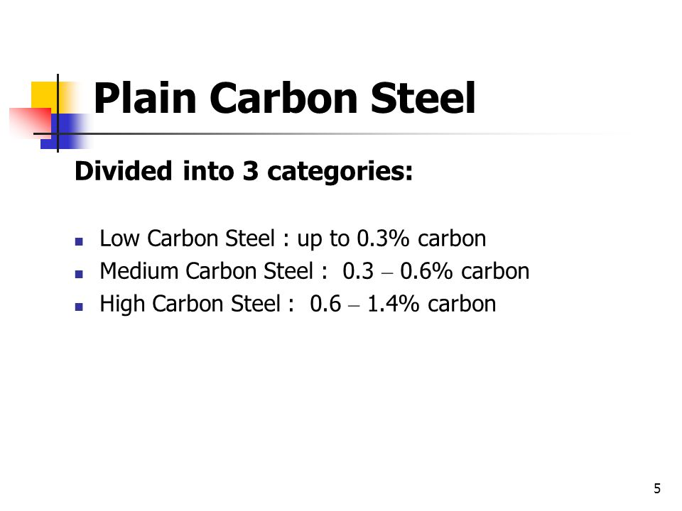 Plain Carbon Steel Divided into 3 categories: