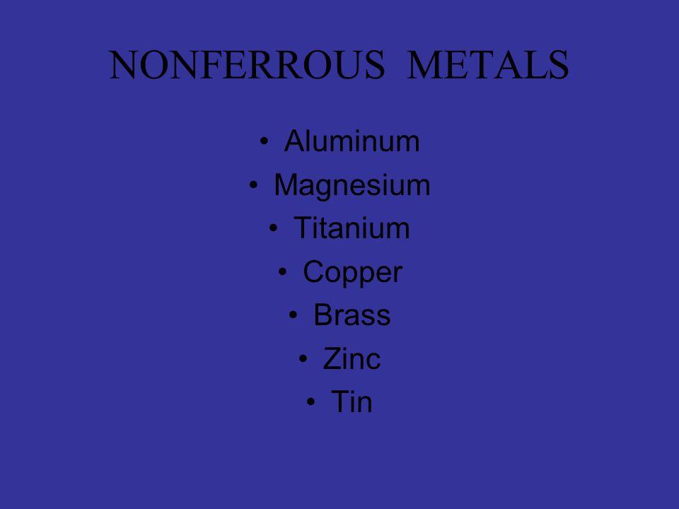 NONFERROUS METALS Aluminum Magnesium Titanium Copper Brass Zinc Tin