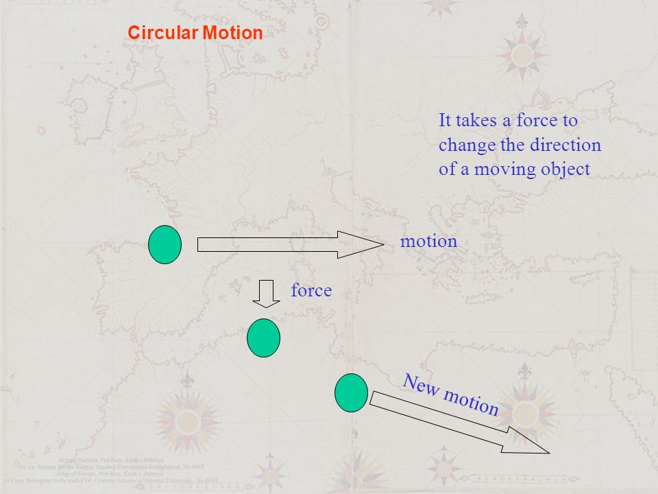 It takes a force to change the direction of a moving object motion