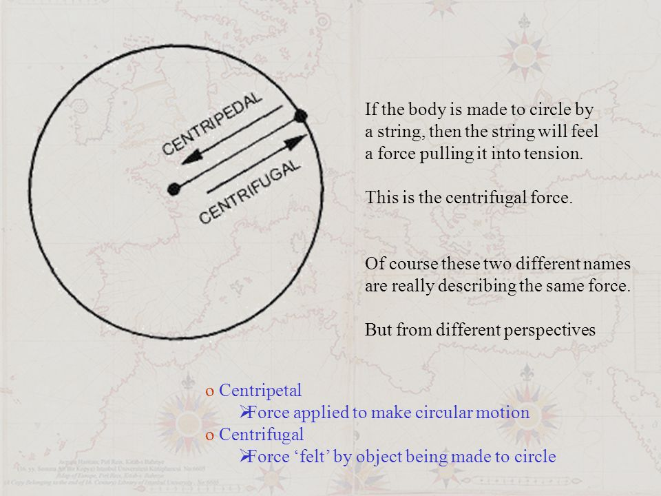 If the body is made to circle by a string, then the string will feel a force pulling it into tension.