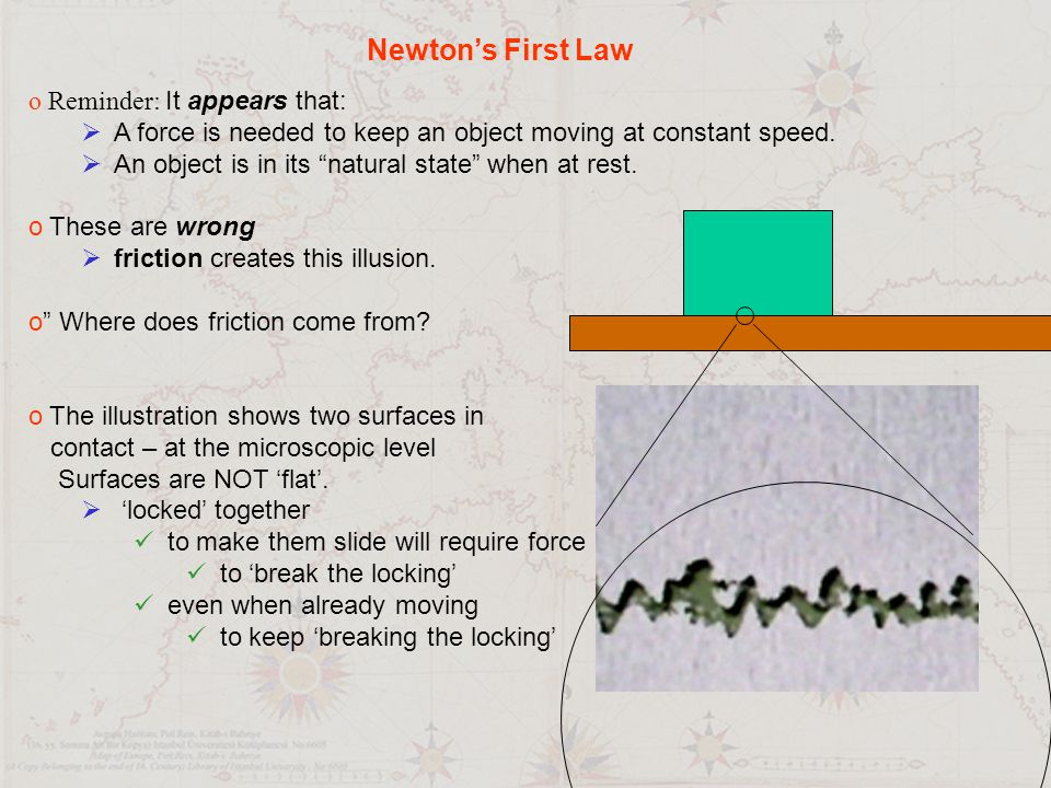 Newton's First Law Reminder: It appears that: