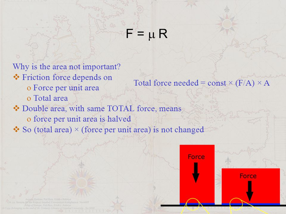 F = m R Why is the area not important Friction force depends on