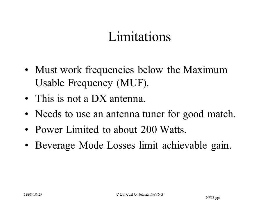 Limitations Must work frequencies below the Maximum Usable Frequency (MUF). This is not a DX antenna.