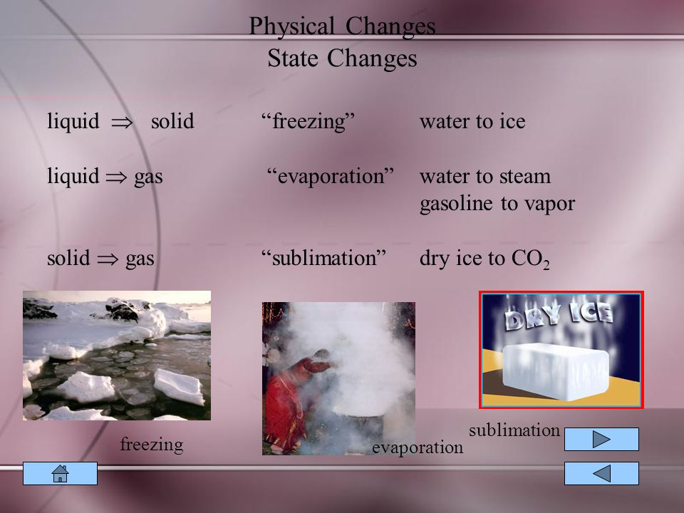 Physical Changes State Changes liquid  solid freezing water to ice