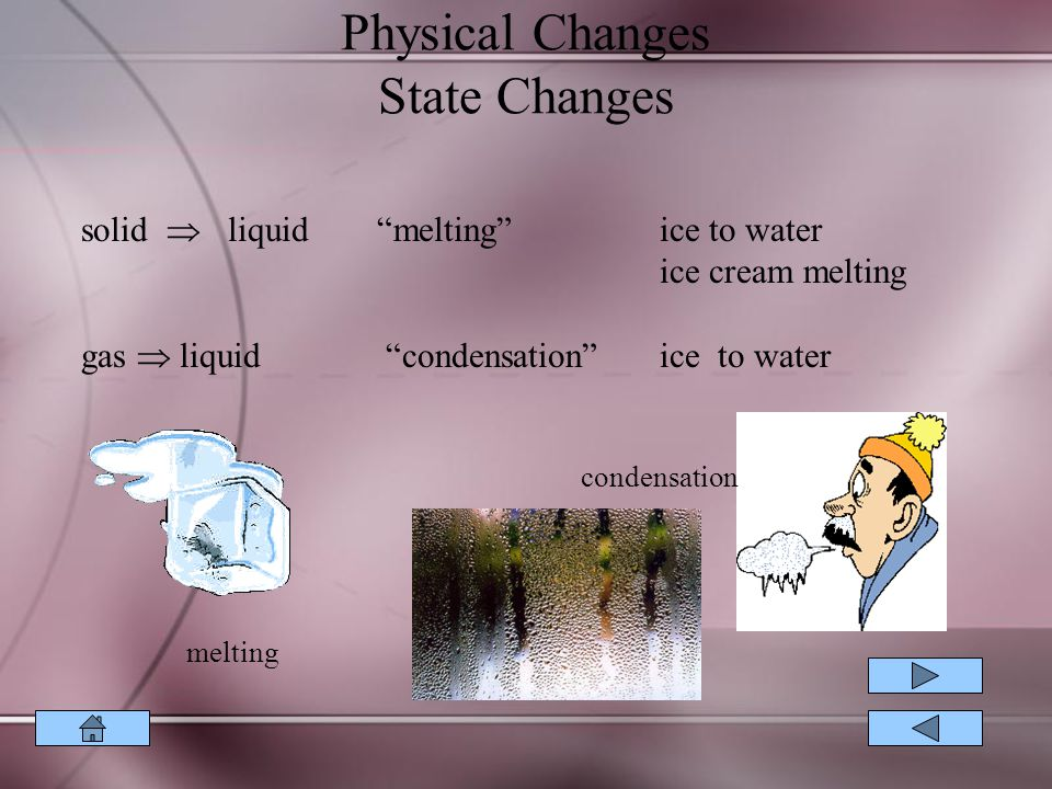 Physical Changes State Changes solid  liquid melting ice to water