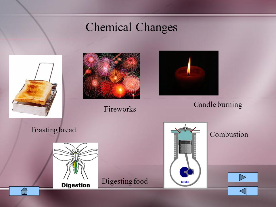 Chemical Changes Candle burning Fireworks Toasting bread Combustion