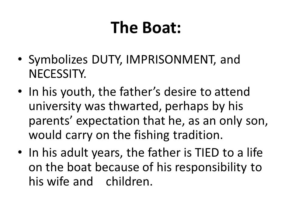 The Boat: Symbolizes DUTY, IMPRISONMENT, and NECESSITY.