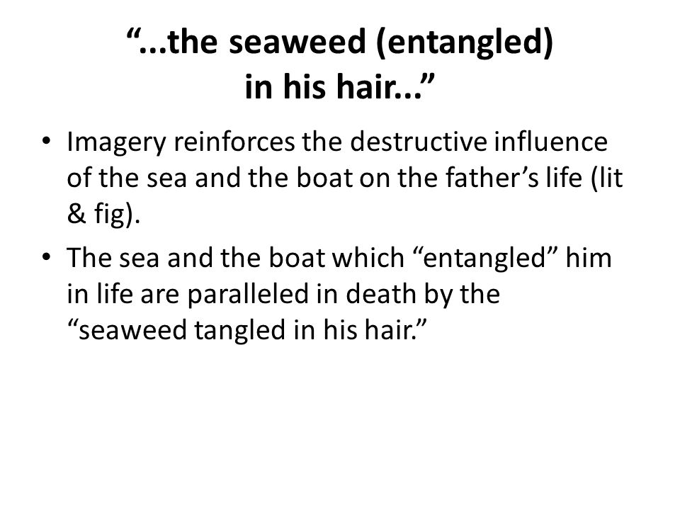 ...the seaweed (entangled) in his hair...