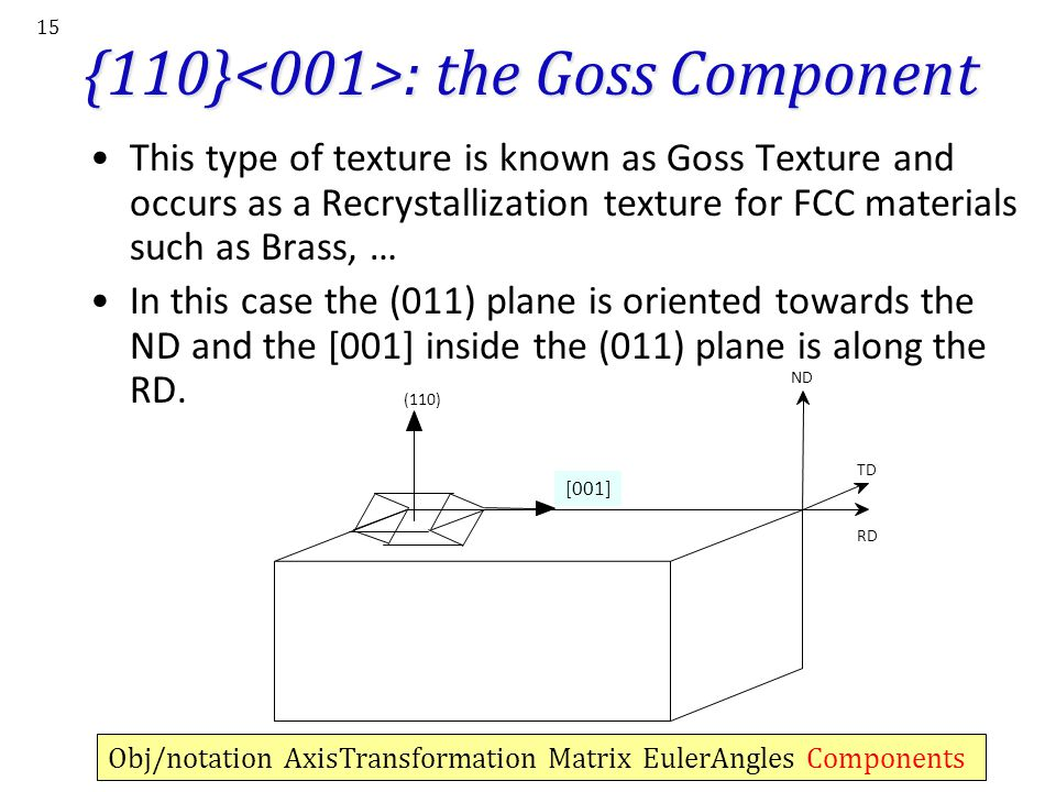 {110}<001>: the Goss Component
