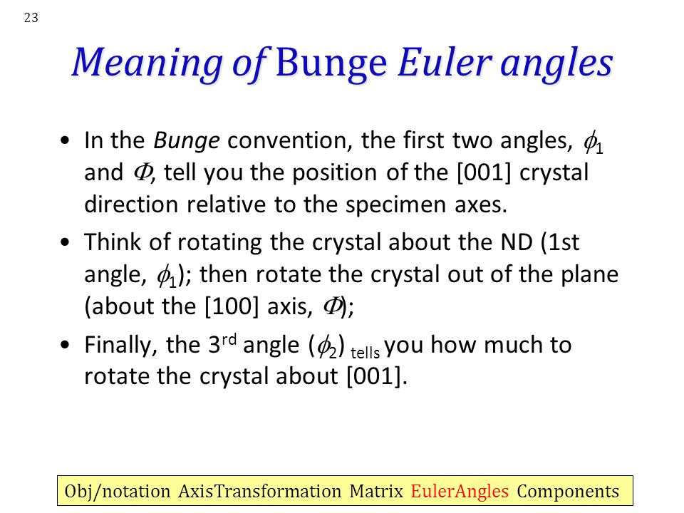 Meaning of Bunge Euler angles