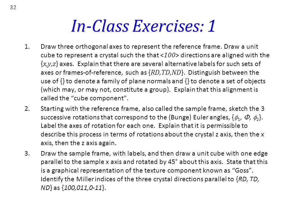In-Class Exercises: 1