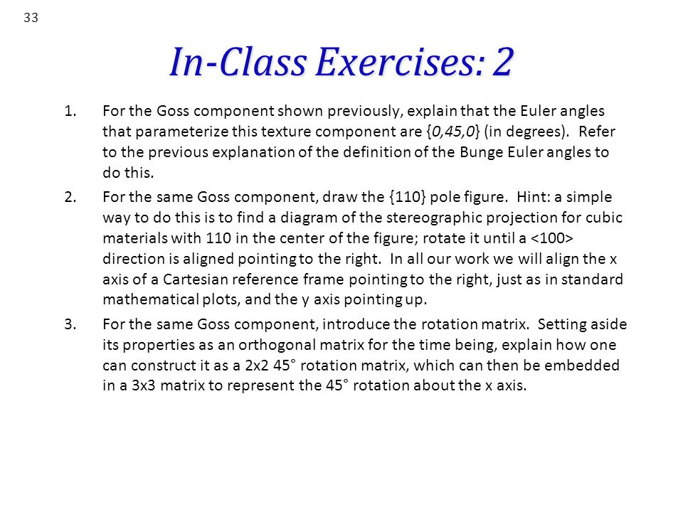 In-Class Exercises: 2