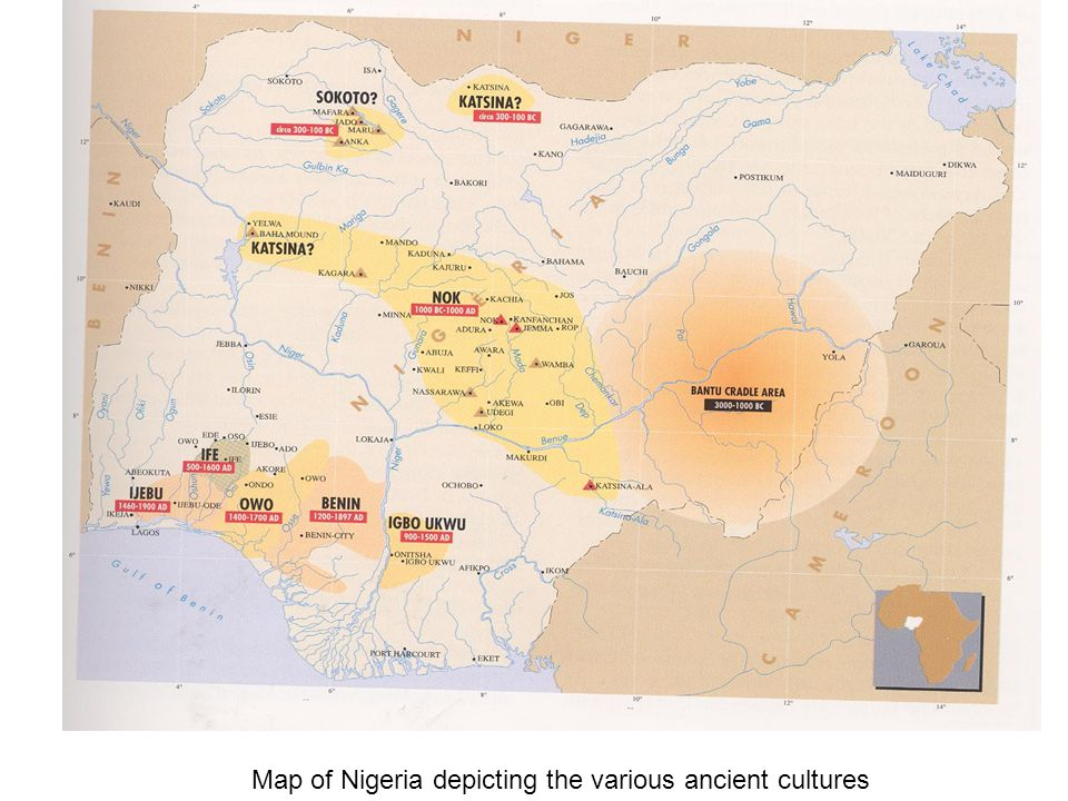 Map of Nigeria depicting the various ancient cultures