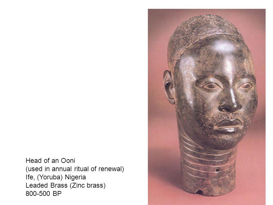 Head of an Ooni (used in annual ritual of renewal) Ife, (Yoruba) Nigeria. Leaded Brass (Zinc brass)