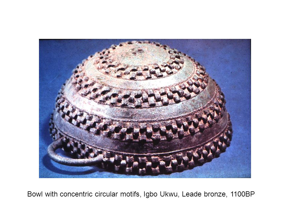 Bowl with concentric circular motifs, Igbo Ukwu, Leade bronze, 1100BP