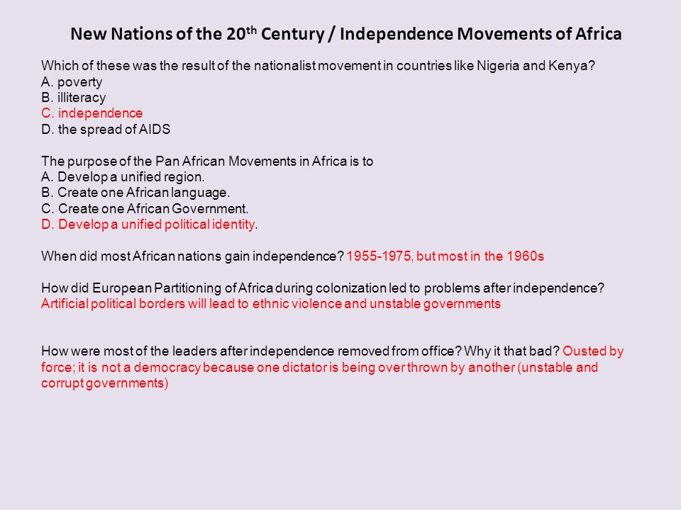 New Nations of the 20th Century / Independence Movements of Africa