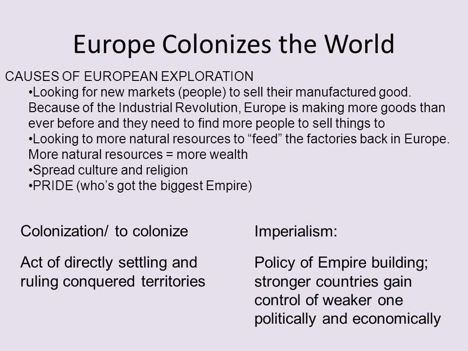 Europe Colonizes the World
