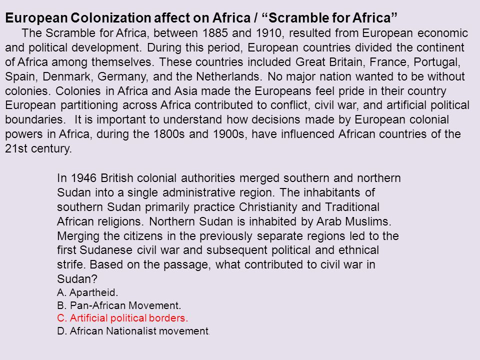 European Colonization affect on Africa / Scramble for Africa