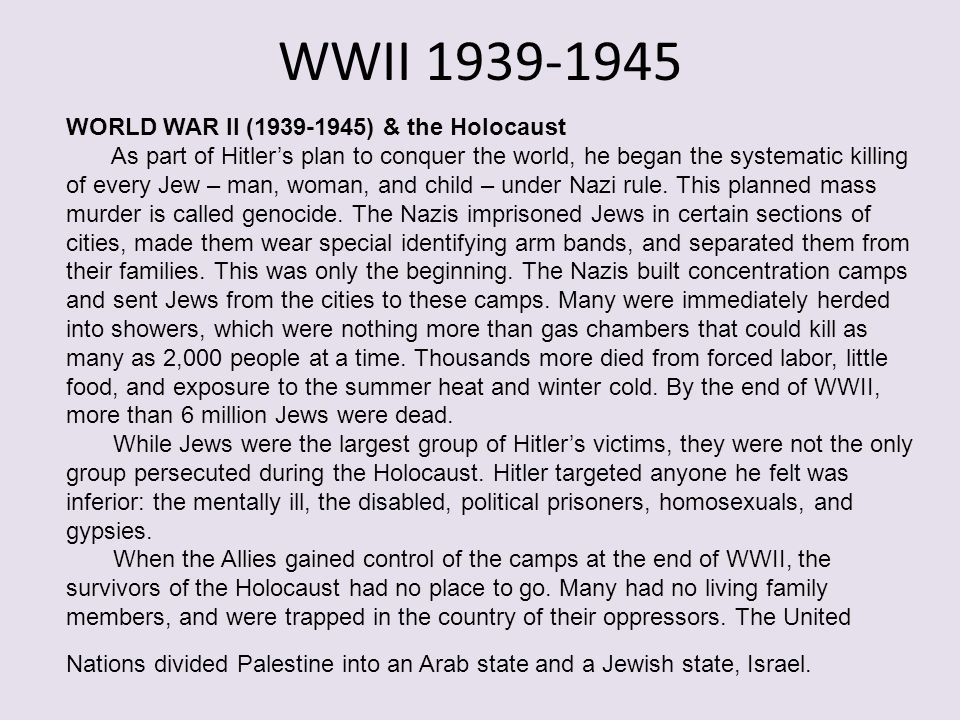 WWII 1939-1945 WORLD WAR II (1939-1945) & the Holocaust