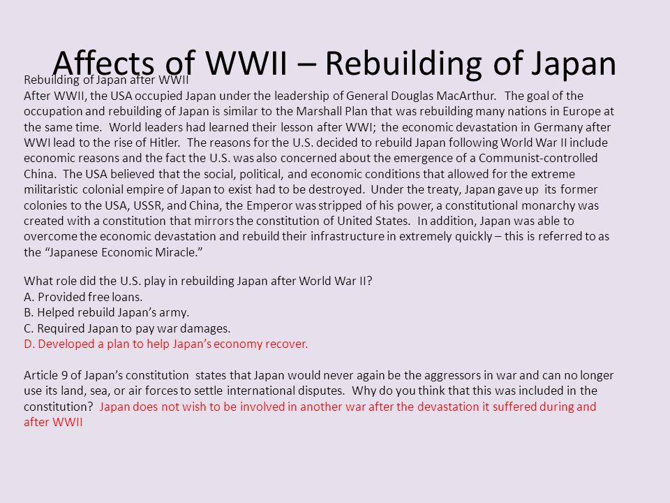 Affects of WWII – Rebuilding of Japan