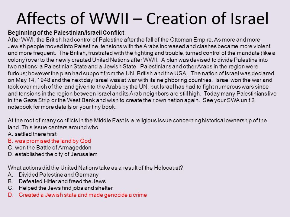 Affects of WWII – Creation of Israel