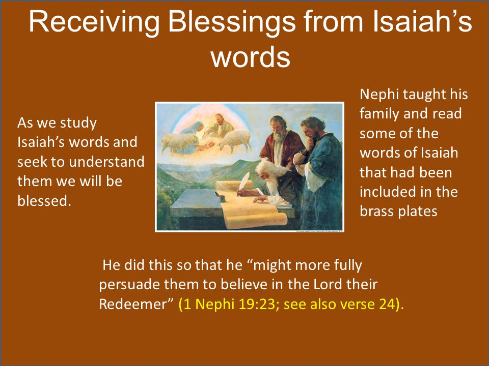 Receiving Blessings from Isaiah's words
