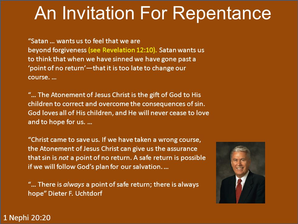 An Invitation For Repentance