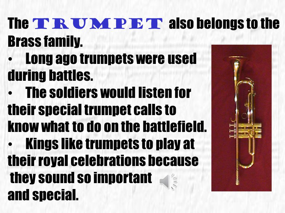 The trumpet also belongs to the