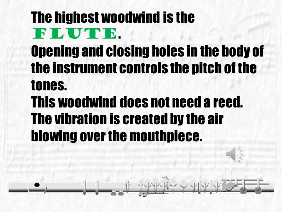 The highest woodwind is the flute.