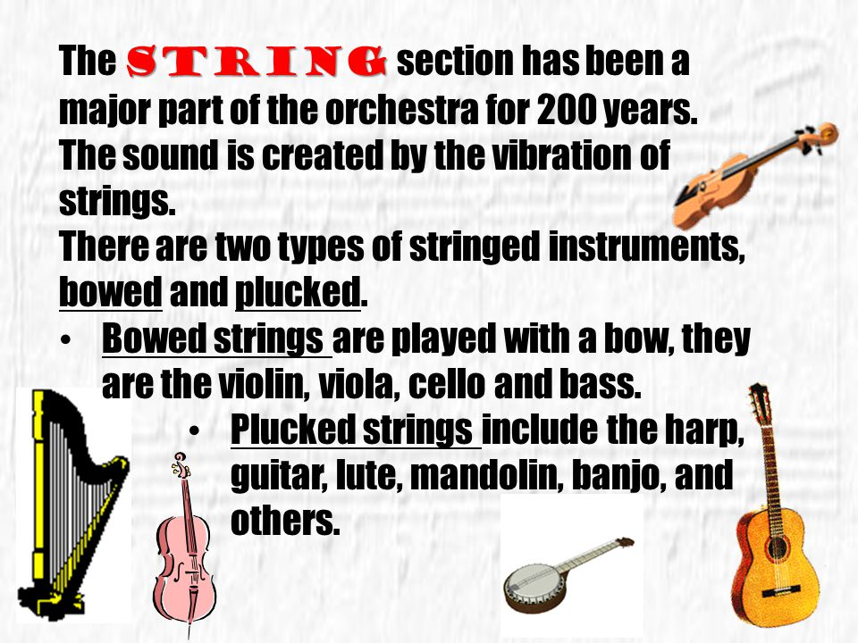 The string section has been a major part of the orchestra for 200 years.