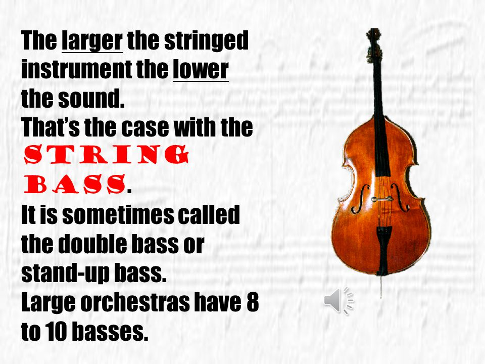 The larger the stringed instrument the lower the sound.